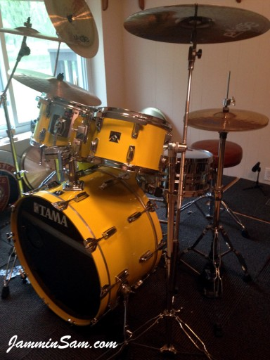 Photo of Franco Gomez's Tama Imperial Star drums with JS Vintage Yellow drum wrap (6)
