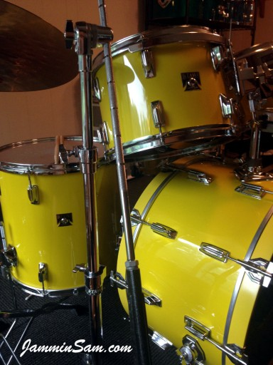 Photo of Franco Gomez's Tama Imperial Star drums with JS Vintage Yellow drum wrap (7)