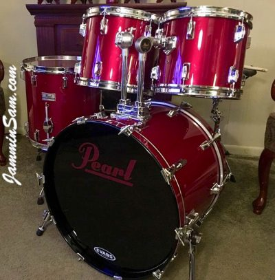 Photo of Ted Richardson's Pearl set of drums with JS Deep Red drum wrap (1)