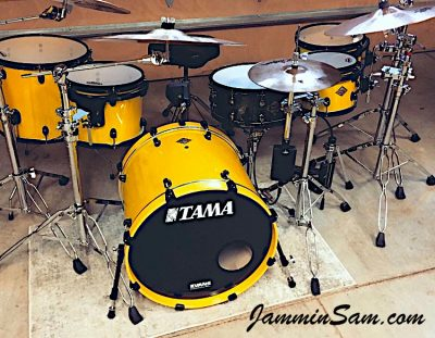 Photo of Eric Smith's Tama drum set with JS Vintage Yellow drum wrap (2)