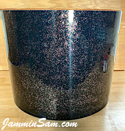 Photo of JamminSam's marching tom with JS Black Galaxy Sparkle drum wrap (67)
