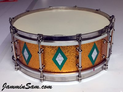 Photo of Rob Schmidt's Ludwig snare drum with JS Sparkle Gold drum wrap (1)