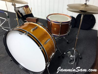 Photo of Roberta Haworth's Ludwig Bass drum with JS Sparkle Gold drum wrap (6)
