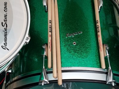 Photo of Daniel Rogers's set of Rogers drums with JS Green Sparkle drum wrap (17)