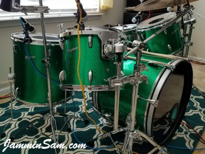Photo of Daniel Rogers's set of Rogers drums with JS Green Sparkle drum wrap (40)