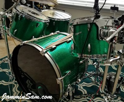 Photo of Daniel Rogers's set of Rogers drums with JS Green Sparkle drum wrap (51)
