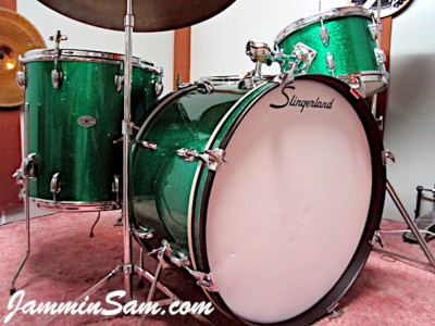 Photo of Michel Gagnon's Ludwig set of drums with JS Green Sparkle drum wrap (5)
