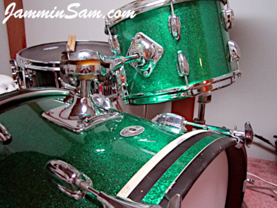 Photo of Michel Gagnon's Ludwig set of drums with JS Green Sparkle drum wrap (6)