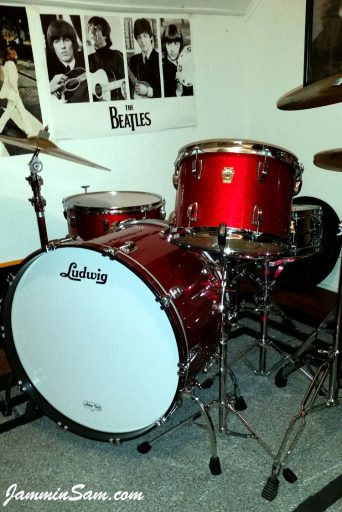 Photo of Al Lindstrom's Ludwig drums with JS Red Sparkle drum wrap (4)