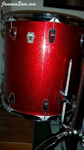 Photo of Al Lindstrom's Ludwig drums with JS Red Sparkle drum wrap (11)