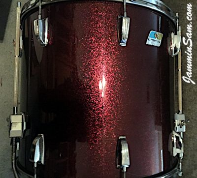 Photo of Dwain Miller's Ludwig set of drums with JS Ruby Sparkle drum wrap (1)
