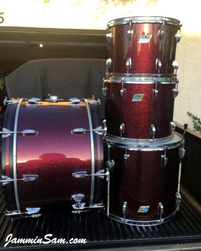 Photo of Dwain Miller's Ludwig set of drums with JS Ruby Sparkle drum wrap (2)