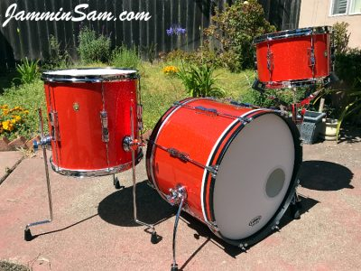 Photo of Mark Melvin's Ludwig drumset with JS Tangerine Sparkle drum wrap (3)