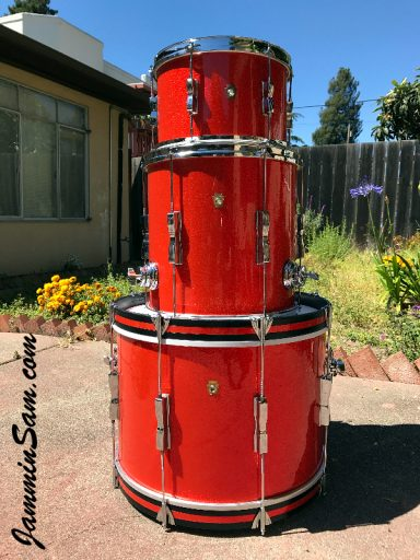 Photo of Mark Melvin's Ludwig drumset with JS Tangerine Sparkle drum wrap (4)