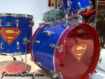 Photo of Patrick Updike's Ludwig drums with JS Hi Gloss Tropical Blue drum wrap (39)