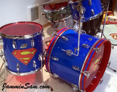 Photo of Patrick Updike's Ludwig drums with JS Hi Gloss Tropical Blue drum wrap (40)