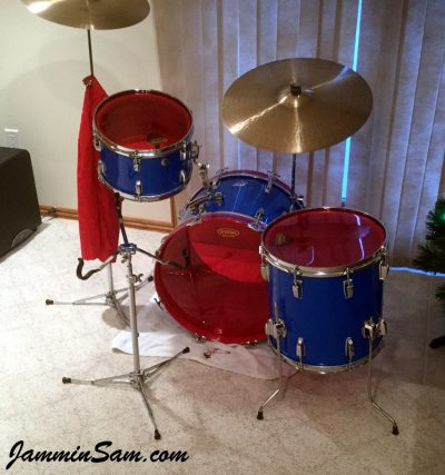 Photo of Patrick Updike's Ludwig drums with JS Hi Gloss Tropical Blue drum wrap (50)