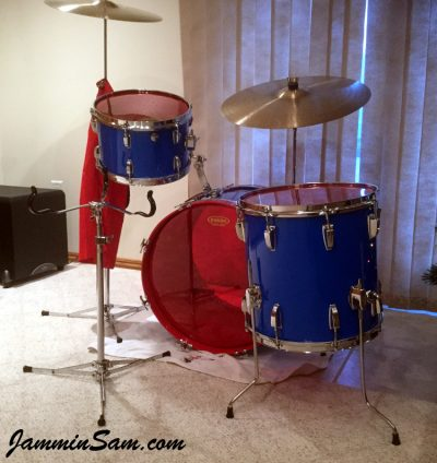 Photo of Patrick Updike's Ludwig drums with JS Hi Gloss Tropical Blue drum wrap (53)