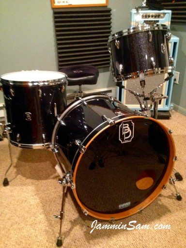 Photo of Jake Fiedler's drums with JS Sparkle Gold drum wrap (58)
