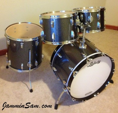 Photo of Keller Smith's drumset with JS Black and Silver Sparkle drum wrap (2)
