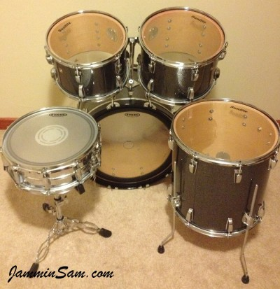 Photo of Keller Smith's drumset with JS Black and Silver Sparkle drum wrap (3)