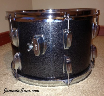 Photo of Keller Smith's drumset with JS Black and Silver Sparkle drum wrap (4)