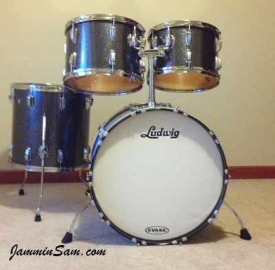 Photo of Keller Smith's drumset with JS Black and Silver Sparkle drum wrap (5)