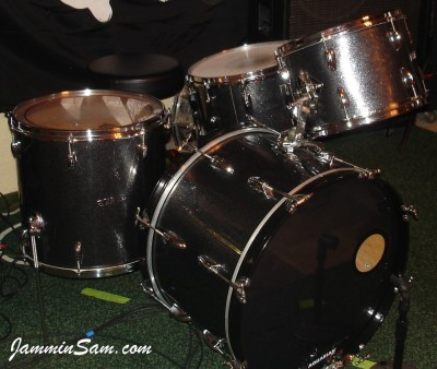 Photo of Martin Corona's drumset with JS Black and Silver Sparkle drum wrap (51)