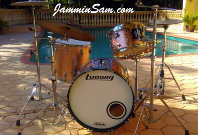 Photo of Doug Aronson's Ludwig Classic drums with JS Sparkle Champagne wrap (1)