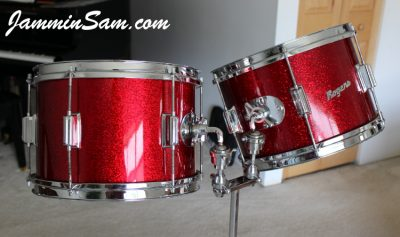 Photo of Joe Bellavia's Rogers drums with JS Dark Red Sparkle drum wrap