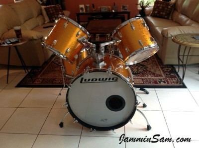 Photo of John Williams' Ludwig drums with JS Sparkle Gold drum wrap (2)