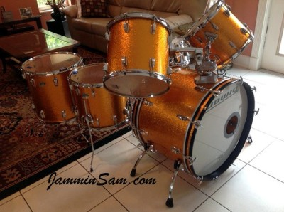 Photo of John Williams' Ludwig drumset with JS Sparkle Gold drum wrap (4)