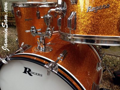 Photo of Paul Huskins' 67 Rogers Drums with JS Sparkle Gold drum wrap (14)