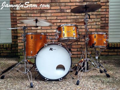 Photo of Paul Huskins' 67 Rogers Drums with JS Sparkle Gold drum wrap (16)