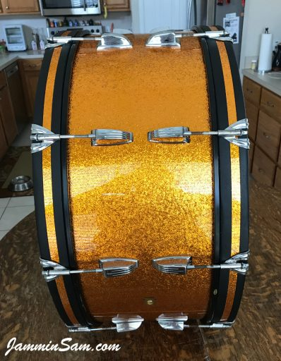 Photo of Roberta Haworth's early 60's Ludwig Bass drum with JS Sparkle Gold drum wrap (61)