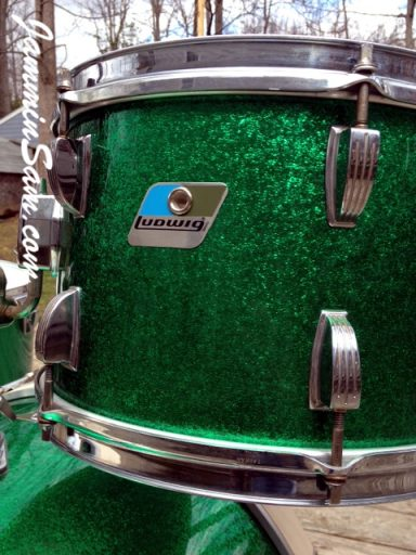 Photo of Erik Josephson's Ludwig drums with JS Sparkle Green drum wrap (2)