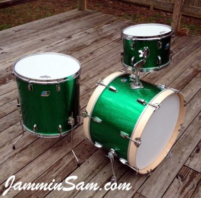 Photo of Erik Josephson's Ludwig drums with JS Sparkle Green drum wrap (5)