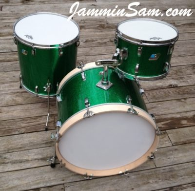Photo of Erik Josephson's Ludwig drums with JS Sparkle Green drum wrap (7)