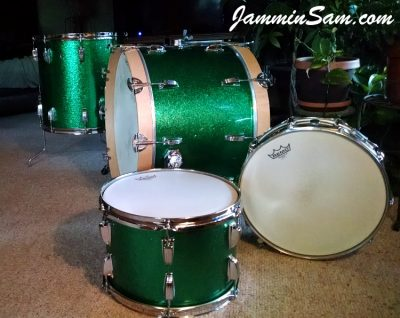 Photo of Mike Sagers' Ludwig drums with JS Sparkle Green drum wrap (5)