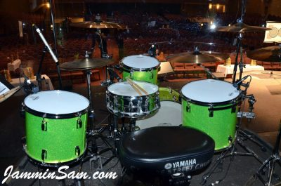 Photo of Colin Fritzke's Pearl drums with JS Sparkle Lime drum wrap (1)