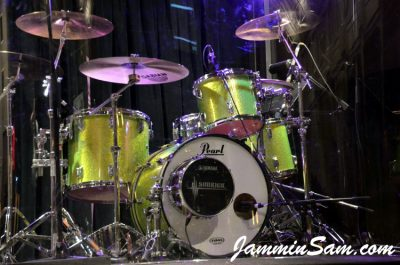 Photo of Colin Fritzke's Pearl drums with JS Sparkle Lime drum wrap (2)