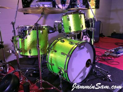 Photo of Colin Fritzke's Pearl drums with JS Sparkle Lime drum wrap (7)