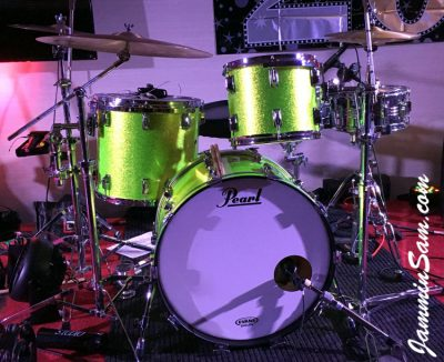 Photo of Colin Fritzke's Pearl drums with JS Sparkle Lime drum wrap (8)