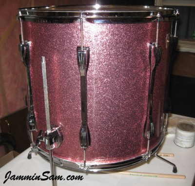 Photo of Dan Kendall's Ludwig floor tom with JS Pink Sparkle drum wrap (63)