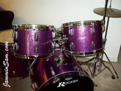 Photo of Rich Kline' Rogers drumset with JS Sparkle purple drum wrap (76)