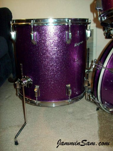 Photo of Rich Kline' Rogers drumset with JS Sparkle purple drum wrap (77)