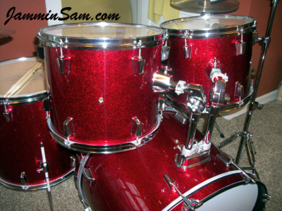 Photo of Jerome West's drumset with JS Sparkle Red drum wrap (8)
