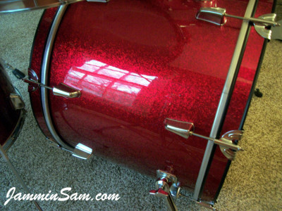 Photo of Jerome West's bass drum with JS Sparkle Red drum wrap (9)