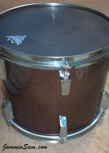 Photo of Keith Armstrong's Tama Swingstars with JS Dark Dark Red Sparkle drum wrap (5)