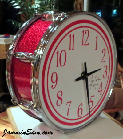 Photo of Lynn Easton's DrumClock with JS Sparkle Red drum wrap (5)